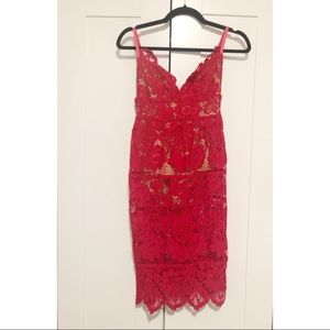 For Love And Lemons Dresses - For Love and Lemons Red Lace Midi Gianna Dress XS